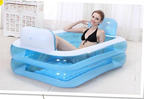 Kinderbecken Aufblasbare Badewanne verdicken Erwachsene Badewanne Faltbare Kind Badestelle Badewanne Kunststoff Badewanne Geschenk Pumpe Hauspool  Farbe  Blau