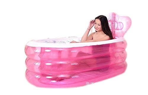 Kinderbecken Aufblasbare verdickte erwachsene faltende Wanne Kunststoff drei Runden warme Kinder Waschbecken rosa Hauspool Farbe  Pink
