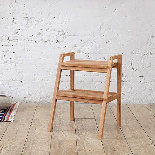 Geyao Europäischer einfacher Umweltschutz Super kostengünstige Massivholzmöbel Eichen-Trittleiter Holzfarbe 440x400x565 mm