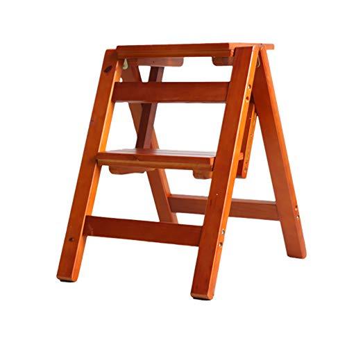 JJJJD Falte 2 Schritte Leiter Dual-Use-Step Hocker Trittleiter-Faltbare Kiefer Holz Treppen Leiter Flower Rack Schuh Bank 38  46  50 cm Farbe  C