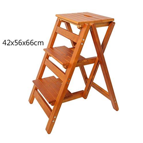 LXJYMX Massivholz Trittleiter multifunktionale Klapptreppe Stuhl Indoor klettern drei Stufen kleine Leiter Trittleiter Kletterleiter Farbe  2
