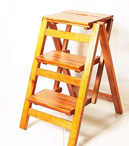 Mode nach Hause ZHILIAN Trittleiter Holz 3 Stufen Klapp 2 Mit Leiter Hocker Indoor-Kletterrahmen Größe 42x56x66cm