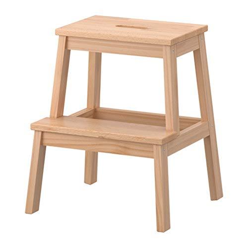 You Hao Trittleiter - 2-Stufen-Leiter aus Holz klappbar Verdickung Rutschfeste multifunktionale tragbare Klappleiter für den Haushalt  Farbe  Beige