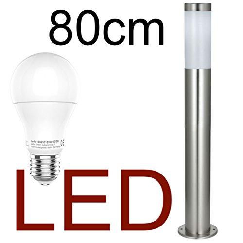 DBLV LED Stand-Außenleuchte 80cm mit LED Leuchtmittel - Edelstahl Außenlampe Hoflampe Gartenlampe Gartenleuchte Balkon Rasen Energieklasse A