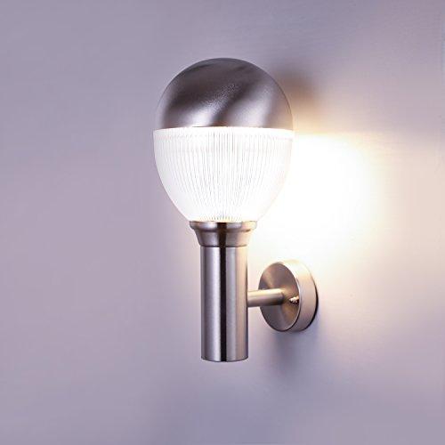 NBHANYUAN Lighting AussenleuchteAußenlampe LED Aussenwandleuchten für Balkon Silber Edelstahl 3000K Warmweiß Licht 220-240V 1000LM 9W ohne PIR Sensor