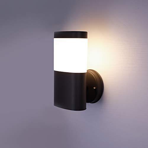 NBHANYUAN Lighting AussenleuchteAußenlampe mit Bewegungsmelder und Dämmerungsschalter LED Aussenwandleuchten für Balkon Schwarz Edelstahl 3000K Warmweiß Licht 220-240V 1000LM 95W ohne PIR Sensor
