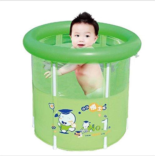 Home Aufblasbare Schwimmbäder Grün Faltbad Bad Fässer Erwachsene Kinder Badewanne Inflated Thicker Isolierung Bad Fässer mit aufblasbaren Pumpe WXP-Schwimmbecken  größe  6070cm