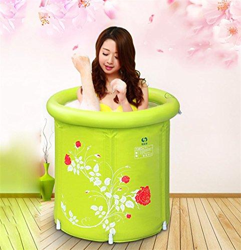Home Aufblasbare Schwimmbäder Home Aufblasbare Badewanne Erwachsener oder Kind Faltbare Kunststoff Dünnere Badewanne Waschbecken Bad Fässer grün mit Luftpumpe WXP-Schwimmbecken  Farbe  B