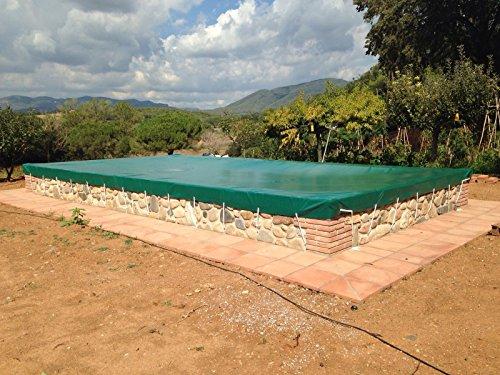 Winterabdeckung für Schwimmbecken Opak für Pool von 55 x 3 Metern bis 125 x 7 Meter Winterschutzabdeckung aus PVC mit 650 gm2 88 x 7 Grün außen  Grün innen