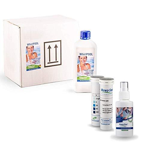 Huwa-San Whirlpool chlorfreie Wasserpflege und Desinfektionsmittel mit stabilisiertem Aktivsauerstoff Saisonvorrat mit Preisvorteil 6 x 1L  Gratisflasche Travel 100 Teststreifen