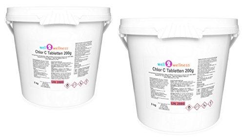 well2wellness Calciumhypochlorit Chlortabletten Chlor C Tabletten 200g - anorganisch speziell für Weiches Wasser 10 kg 2 x 5kg