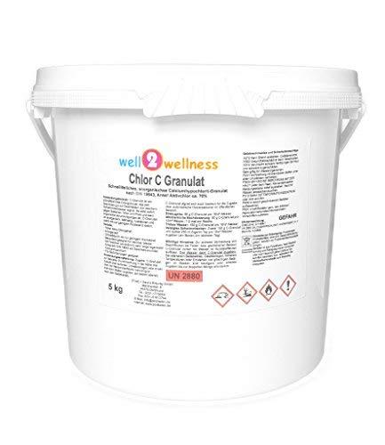 well2wellness Chlor C Granulat - Calciumhypochlorit Granulat mit ca 70 Aktivchlor speziell für Weiches Wasser - 50 kg
