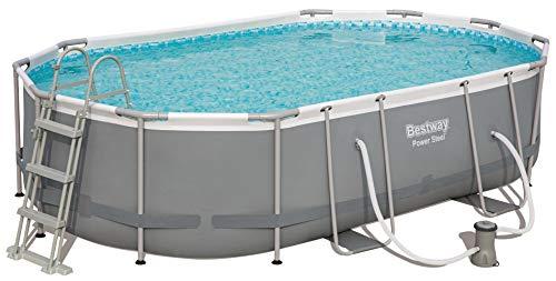 Bestway Power Steel Frame Pool Set oval 488x305x107 cm Stahlrahmenpool-Set mit Filterpumpe  Zubehör grau