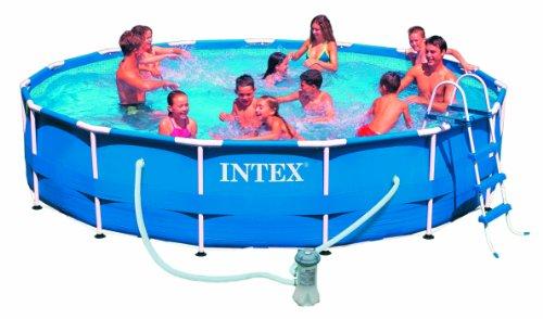Intex Metal Frame Aufstellpool mit Pumpe  blau Ø 305 x 76 cm