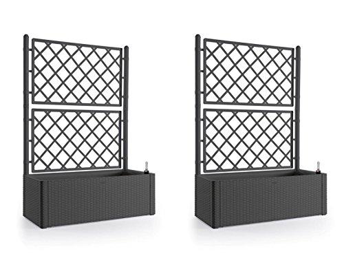 Kreher 2 Stück XL Rankgitter Spalier mit Pflanzkasten in moderner Rattan-Optik aus Robustem Kunststoff in AnthrazitGrau Maße BxTxH in cm 100 x 43 x 142 cm Topp für Garten Terrasse und Balkon