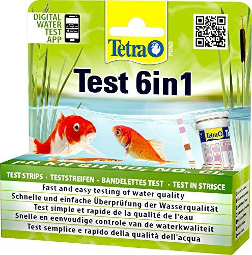 Tetra Pond Test 6in1 Teststreifen zur Bestimmung von 6 wichtigen Wasserwerten im Gartenteich 1 Dose 24 Streifen
