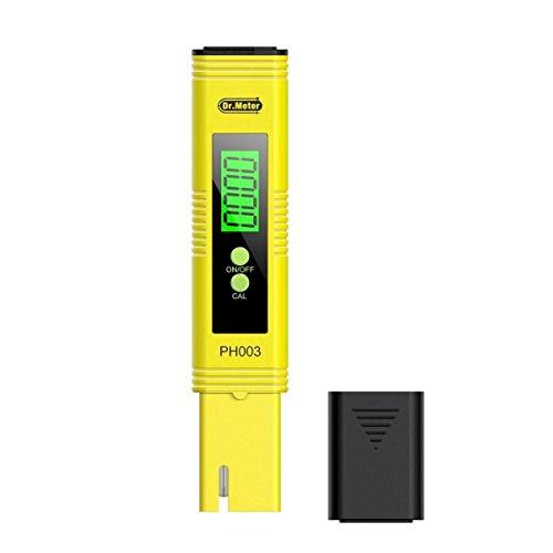 Drmeter PH Messgerät PH003 PH-Tester digital-Stiftform mit Hintergrundbeleuchtung und ATC Messbereich 0 – 14 Gelb für Pool Aquarium