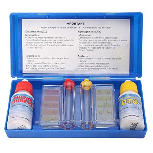 Domeilleur Testset Chlor PH Messgerät Chlor pH Pool Wasser Tropfen – Set pH Chlor Wasser Qualität Test Kit Schwimmbad Spa Testanzeige mit Farbtabelle