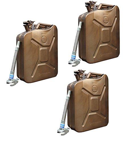 3x Metallkanister 20l Benzinkanister kupfer  3x Ausgießer flexibel verzinkt Baumarktplus Reservekanister Dieselkanister bleifrei bleihaltig Ölkanister Ethanolkanister