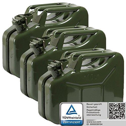 Oxid7 3x Benzinkanister Kraftstoffkanister Metall 10 Liter Olivgrün mit UN-Zulassung - TÜV Rheinland Zertifiziert - Bauart geprüft - für Benzin und Diesel