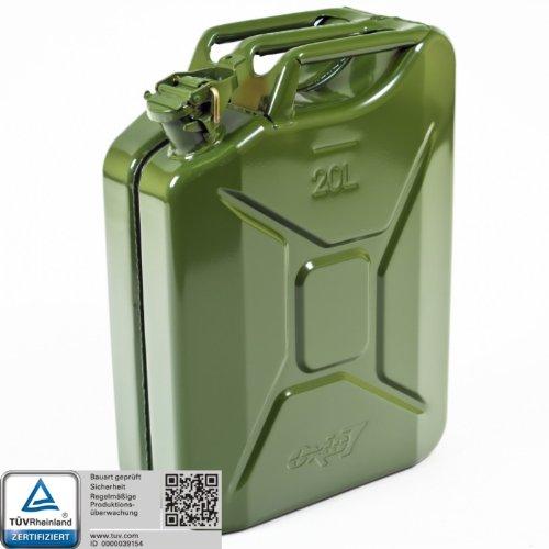 Oxid7 Benzinkanister Kraftstoffkanister Metall 20 Liter Olivgrün mit UN-Zulassung - TÜV Rheinland Zertifiziert - Bauart geprüft - für Benzin und Diesel
