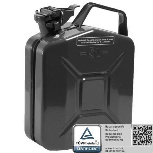 Oxid7 Benzinkanister Kraftstoffkanister Metall 5 Liter schwarz mit UN-Zulassung - TÜV Rheinland Zertifiziert - Bauart geprüft - für Benzin und Diesel