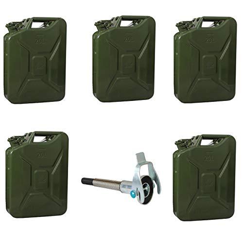 TRUTZHOLM 5X Metallkanister 20l Kanister Benzinkanister  1x Ausgießer flexibel Natooliv
