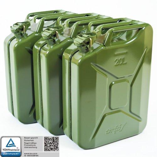 3x Oxid7 Benzinkanister Kraftstoffkanister Metall 20 Liter Olivgrün mit UN-Zulassung - TÜV Rheinland Zertifiziert - Bauart geprüft