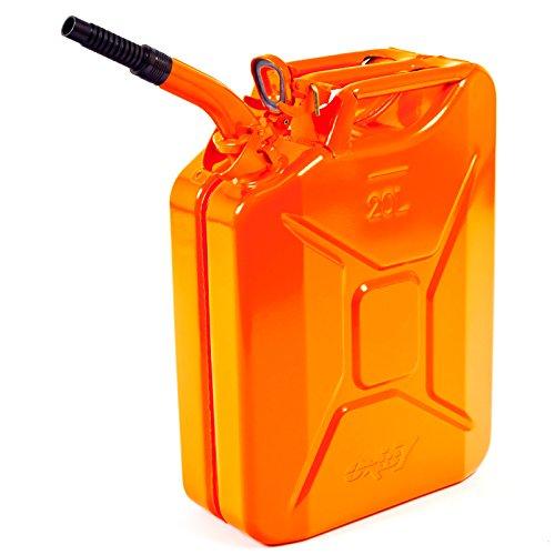 Oxid7 Benzinkanister Kraftstoffkanister Metall 20 Liter Orange inkl Ausgießer mit UN-Zulassung - TÜV Rheinland Zertifiziert - Bauart geprüft - für Benzin und Diesel