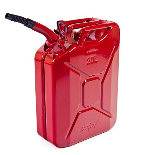 Oxid7 Benzinkanister Kraftstoffkanister Metall 20 Liter Rot inkl Ausgießer mit UN-Zulassung - TÜV Rheinland Zertifiziert - Bauart geprüft - für Benzin und Diesel
