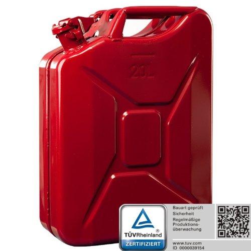 Oxid7 Benzinkanister Kraftstoffkanister Metall 20 Liter Rot mit UN-Zulassung - TÜV Rheinland Zertifiziert - Bauart geprüft - für Benzin und Diesel