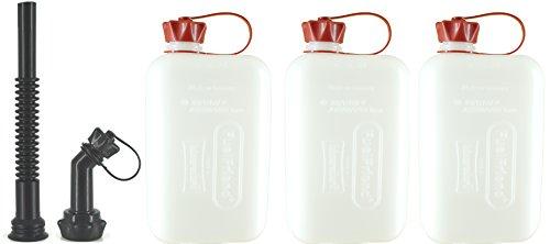 FuelFriend-Big Clear max 20 Liter - Klein-Benzinkanister Mini-Reservekanister mit UN-Zulassung  Auslaufrohr-Set - im Dreierpack