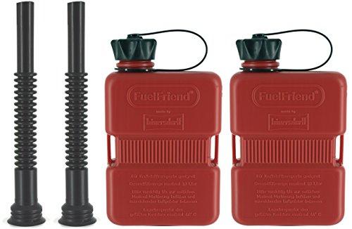 FuelFriend-Plus 10 Liter - Klein-Benzinkanister Mini-Reservekanister  Flexibles Auslaufrohr - im Doppelpack