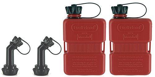 FuelFriend-Plus 10 Liter - Klein-Benzinkanister Mini-Reservekanister  verschließbares Auslaufrohr - im Doppelpack