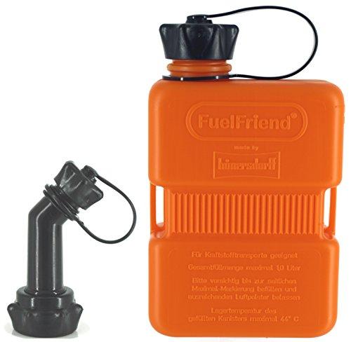 FuelFriend-Plus 10 Liter - Sonderserie ORANGE - Klein-Benzinkanister Mini-Reservekanister  verschließbares Auslaufrohr