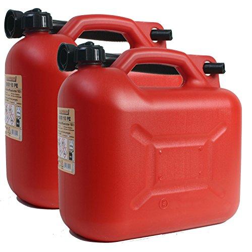 2er Set 2x Benzinkanister KKR 10 PE 10 Liter rot mit UN Zulassung