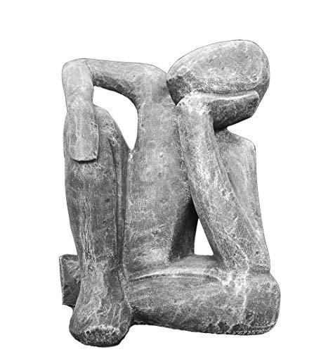 Tiefes Kunsthandwerk Steinfigur Träumer in Schiefergrau abstrakte Deko-Figur für Haus und Garten moderne Statue als Garten-figur