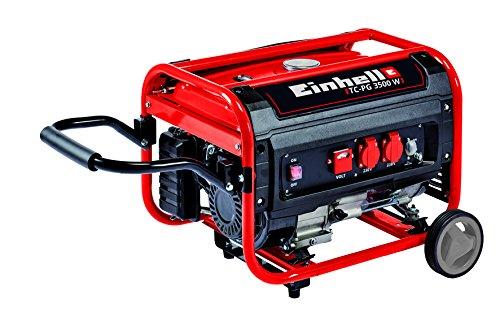 Einhell Stromerzeuger Benzin TC-PG 3500 W 41 kW Dauerleistung bis 2600 W max 3100 W zwei 230 V-Anschlüsse 4-Takt-Motor 15 L Überlastschalter Ölmangelsicherung Voltmeter AVR-Funktion