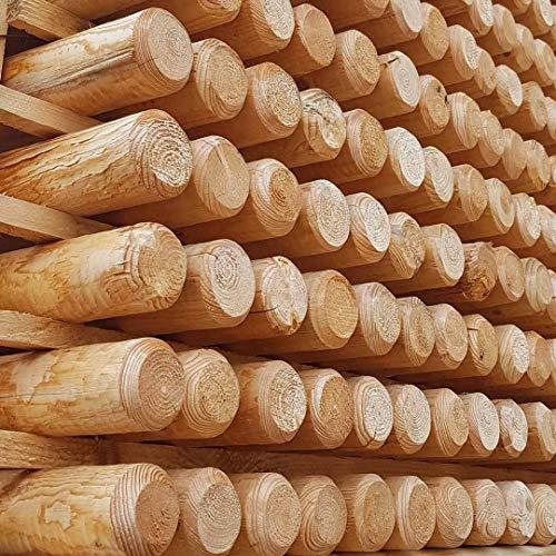 Grünbedarf 5X Baumpfahl 150x6cm Holzpfahl Pflanzstab Pfosten Rundpfahl roh gespitzt Holz