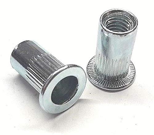 100 x Blindnietmutter Nietmutter M8x21 Stahl Verzinkt Zaun Pfosten Auflagebock