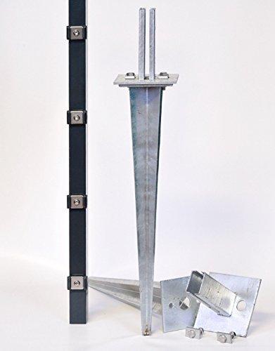 Verstellbare Einschlaghülse 75 cm Doppelstabmattenzaun für Pfosten 60x40 mm Zäune