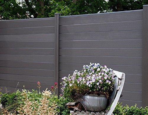 WPC  BPC Sichtschutzzaun dark grey 5 Zäune inkl 6 Pfosten Sichtschutz Gartenzaun Zaun