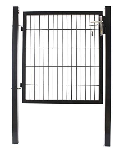 ESTEXO Gartentor Set mit Tür Pfosten Aluminium Türgriff und Einsteckschloss inkl 3 Schlüssel Farbe Anthrazit RAL 7016 Größe 120 cm