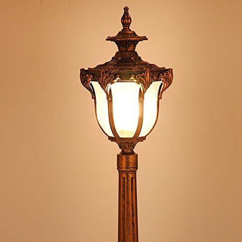 HDMY Aluminium-Hof-Rasen-Licht im Freien imprägniern im europäischen Stil Stehlampe Grassland-Garten-Landhaus-Landschaftshöhen-Pfosten-Lampe im Freien geführte Pfosten-Licht Color  Bronze-210cm