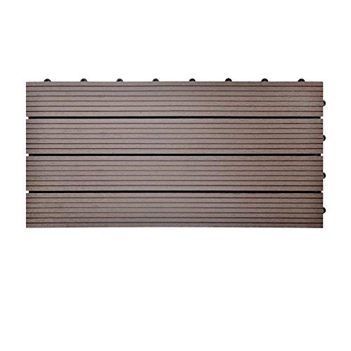 SIENOC Terrassen-Fliese aus WPC Kunststoff Einzelfliese Garten-FlieseBalkon Bodenbelag mit Drainage Unterkonstruktion 30x60 cm Neu Hellbraun