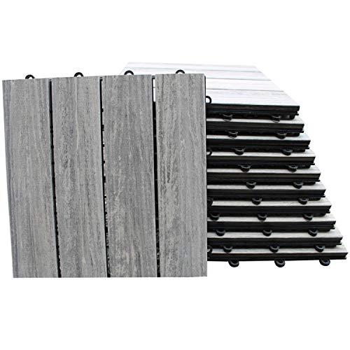 TOP MULTI WPC Holz Fliese 30x30cm für Terrasse und Balkon grau und braun Bodenfliese Klickfliese grau