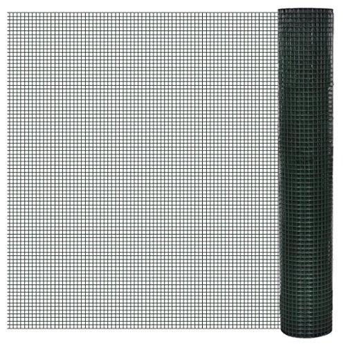 Anself 1m x 25m Drahtgitter Maschendraht Volierendraht 12x12mm Grün