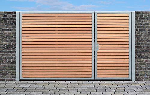 Elektrisches Einfahrtstor Qas Tor Holztor Gartentor Hoftor Verzinkt mit Pfosten Holzfüllung 2-flügelig 300cm x 160cm