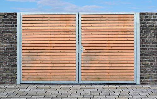 Elektrisches Einfahrtstor Qs Tor Holztor Gartentor Hoftor Verzinkt mit Pfosten Holzfüllung 2-flügelig 500cm x 160cm