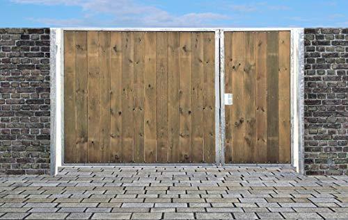 Elektrisches Einfahrtstor Sas Tor Holztor Gartentor Hoftor Verzinkt mit Pfosten Holzfüllung 2-flügelig 500cm x 180cm